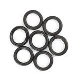 Several flat O ring washers for garden hose. A group of O ring washers for lawn and garden products on a white background stock photo