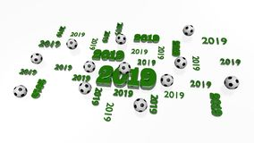 Several Football 2019 Designs with Some Balls. On a White Background Royalty Free Stock Image