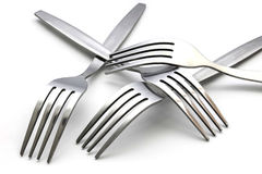 Several of fork  on white background Stock Photography