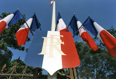 Several French tricolors Stock Photography