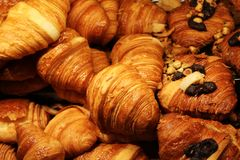 Several freshly baked butter and chocolate croissants Stock Image