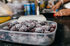 Several frozen blackberries in plastic box on kitchen. Close-up of several frozen blackberries with different shades of red Royalty Free Stock Image