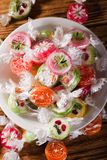 Several fruit candies with fruit motifs in white bowl Royalty Free Stock Photography