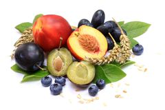 Several fruits and cereals Stock Photo