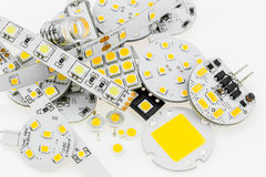 Several G4 LED bulbs with different electronics and LED strips a Stock Images
