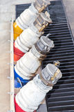 Several gasoline pump nozzles Stock Photo