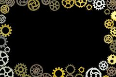 Gears. Several gears mesh with each other with their teeth vector illustration