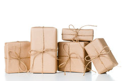 Several gift boxes, postal parcels Stock Photography