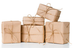 Several gift boxes, postal parcels stock photo