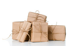 Several gift boxes, postal parcels royalty free stock images