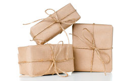 Several gift boxes, postal parcels stock photos