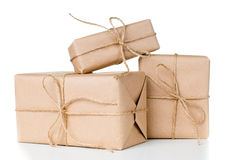 Several gift boxes, postal parcels Stock Image