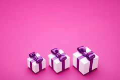 Several gifts with satin bows Royalty Free Stock Image