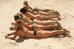 Several girls in bikini lying on sandy beach. Photo of several girls in bikini lying on sandy beach and tanning in the bright summer sun Royalty Free Stock Image