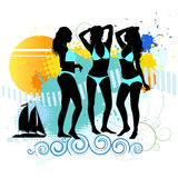 Several girls are dancing on the beach. Vector illustration stock illustration