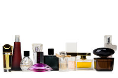 Several glass bottles on perfume on white background Stock Photos