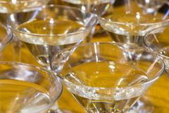 Several glasses of the famous Martini cocktail stand on a bar table.  Stock Images