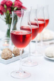 Several glasses of rose wine Stock Image
