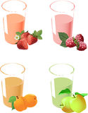 Several glasses of yogurt and fruit Stock Images