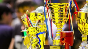 Several Golden Cups For Winners stock footage