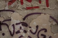 Graffiti on a battered concrete wall. Several Graffiti on a battered concrete wall Royalty Free Stock Photos