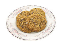 Several granola cookies on plate Royalty Free Stock Image