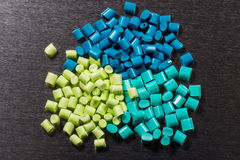 Several green dyed polymer resins Stock Photography