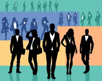 Several groups of people. Vector illustration of silhouettes of several groups of people Stock Image