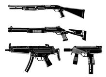 Several guns. Shotgun, modern,old, in the Stock Photography