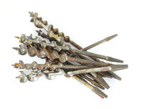 Several hand brace traditional auger drill bits Stock Photo