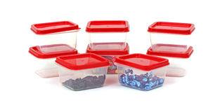 Several Handy Small Storage Boxes. A group of eight small plastic storage boxes Royalty Free Stock Images