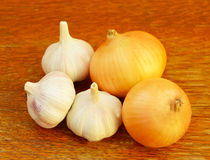 Several heads of garlic and onions Stock Images