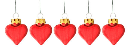 Several heart shaped christmas bauble Royalty Free Stock Photo