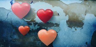 Composite image of several heart on white background Royalty Free Stock Photos
