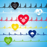 Several heartbeat lines. Royalty Free Stock Images