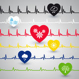 Several heartbeat lines. Royalty Free Stock Photography