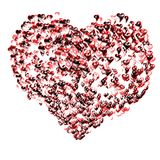 Several hearts balloons. Several balloons, heart-shaped flying in the sky as one heart Royalty Free Stock Photos