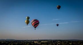 Hot air balloons. Several hot air balloons multicoloured royalty free stock photo