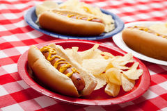 Several hotdogs on colored plates. On a gingham background Stock Image