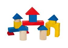 Several houses of wooden blocks. Stock Photography
