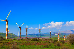 Several huge modern windmills Royalty Free Stock Photo