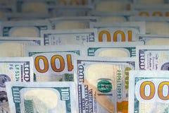 Money Bills Upright. Several Hundred Dollar Bills in a Upright Formation Stock Photo