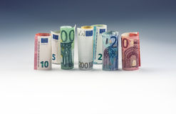Several hundred euro banknotes stacked by value. Euro money concept.  Royalty Free Stock Photo