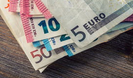 Several hundred euro banknotes stacked by value. Euro money concept. Euro banknotes. Euro money. Euro currency. Banknotes stacked Stock Photo