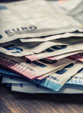 Several hundred euro banknotes stacked by value. Euro money concept. Euro banknotes. Euro money. Euro currency. Banknotes stacked Royalty Free Stock Photo