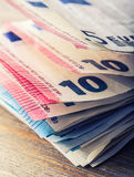 Several hundred euro banknotes stacked by value. Euro money concept. Euro banknotes. Euro money. Euro currency. Banknotes stacked Stock Photos