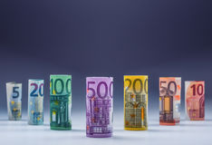 Several hundred euro banknotes stacked by value. Euro money concept. Rolls Euro  banknotes. Euro currency. Stock Image
