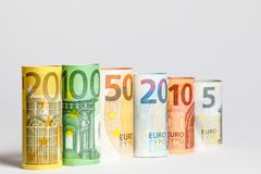 Several hundred euro banknotes stacked by value.Rolls Euro bankn. Different Euro banknotes from 5 to 500 Euro Royalty Free Stock Image