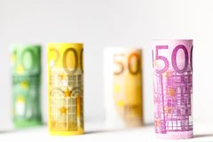 Several hundred euro banknotes stacked by value.Rolls Euro bankn. Different Euro banknotes from 5 to 500 Euro Royalty Free Stock Images