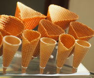 Several ice cream cones. In a plastic stand royalty free stock photography